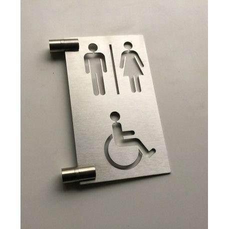 Pictogramme drapeau toilettes H/F/PMR