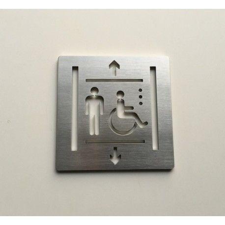 Pictogrammes ascenseur inox brossé