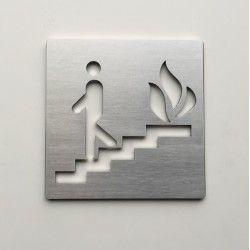 Pictogramme escalier en cas d'incendie - 100x100 ep2mm