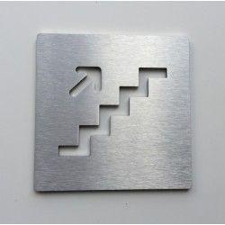 Pictogramme montée d'escalier inox - 100x100 - Ep2 ou 4mm