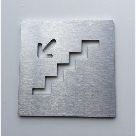 Pictogramme escalier inox descendre gauche - 100x100 - Ep2mm