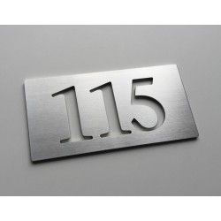 Plaque numéro inox - 143x72 - Numéro au choix