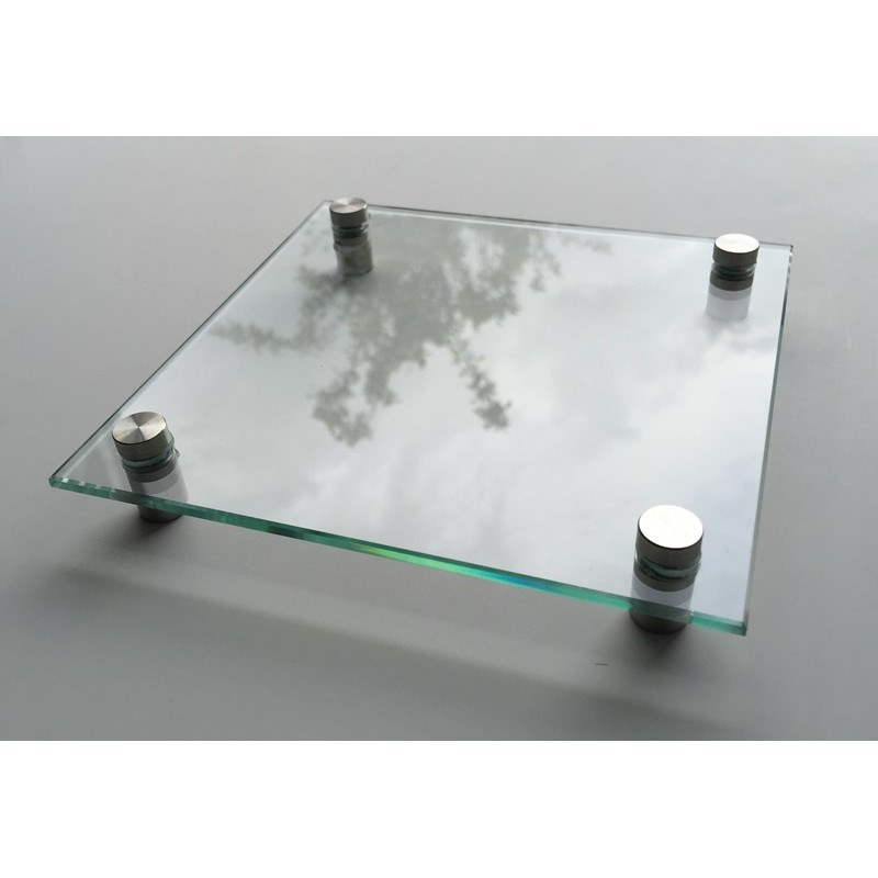 Plaque habitation verre tremp 4 entretoises inox 150 for Plaque inox murale