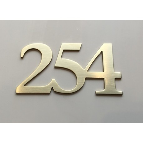 Numéros chambres d'hôtel laiton brossé chiffres d'hôtel - 5cm ep2mm