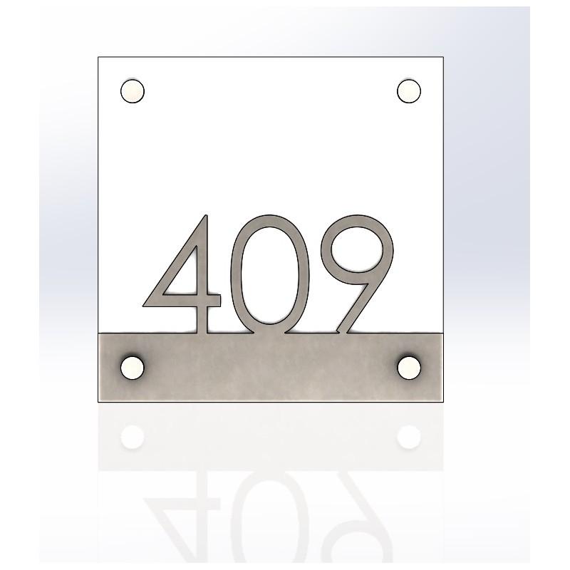 Plaque inox bross et verre tremp h tel ou habitation accueil - Plaque de verre trempe ...