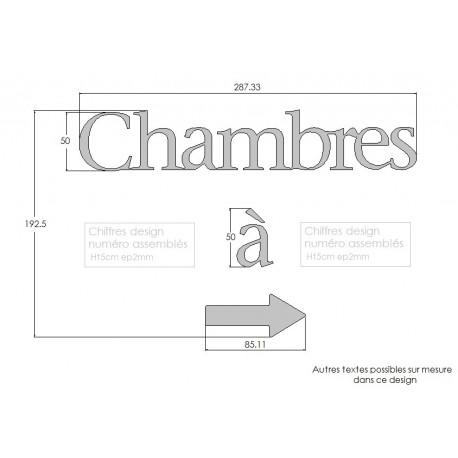 Texte Chambres Design assemblé - Inox brossé - Taille 5, 7 ou 10cm