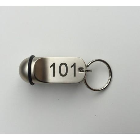 Porte-clé boule 5cm x 2cm - acier- nickelé - gravure laser