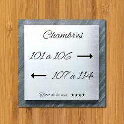 Signalétique inox brossé - pierre naturelle - 150x150mm