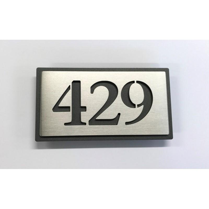 Plaque numero inox 143x72 fond thermolaque numero au choix for Plaque murale inox