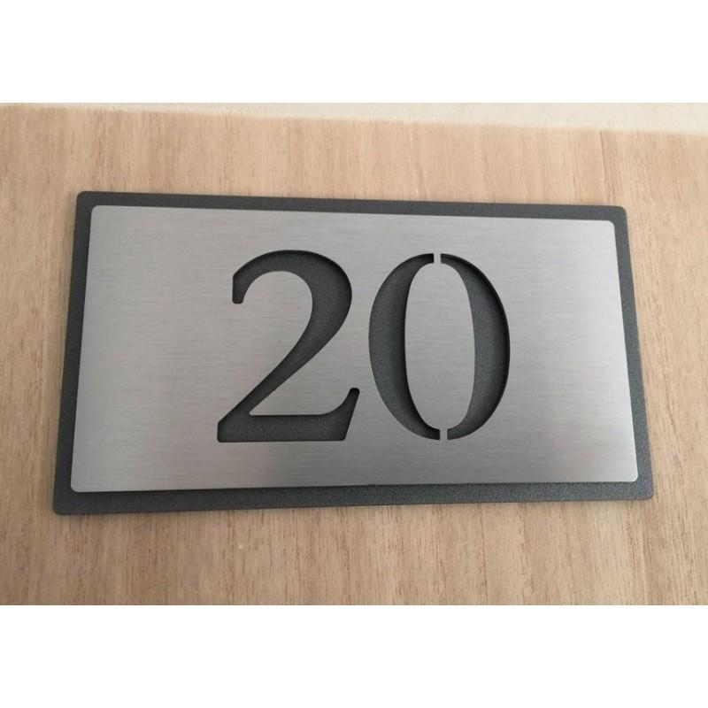 plaque numero inox 143x72 fond thermolaque numero au choix. Black Bedroom Furniture Sets. Home Design Ideas