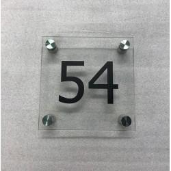 Plaque habitation verre trempé - 4 entretoises inox - 150x150mm / 200x200mm