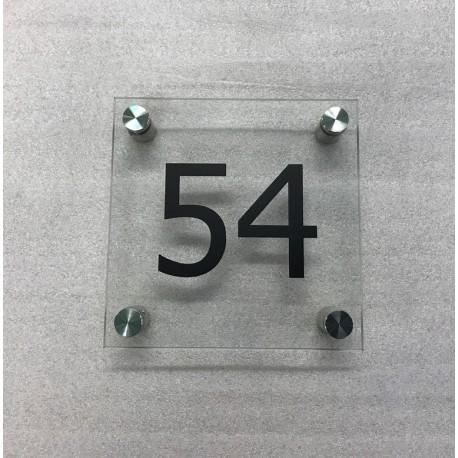 Plaque habitation verre trempé - 4 entretoises inox - 150x150mm