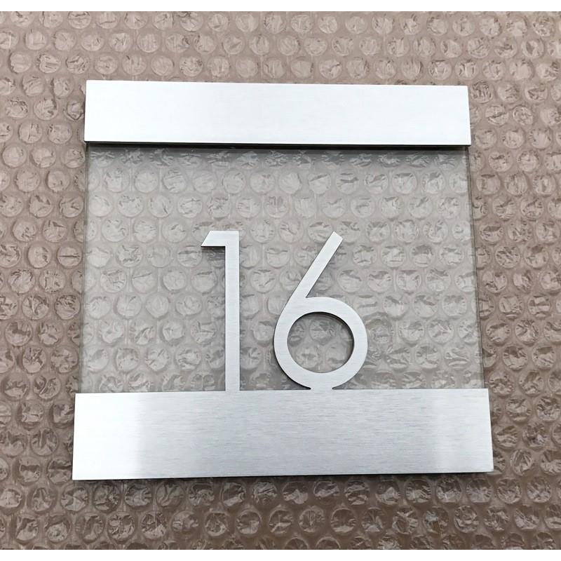 plaque inox bross et verre tremp h tel accueil. Black Bedroom Furniture Sets. Home Design Ideas
