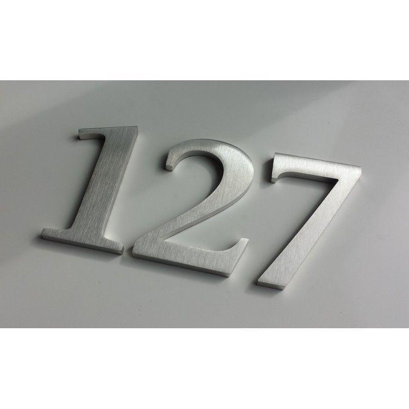 design stone serif thermolaque chiffre inox brosse 11cm ep8mm. Black Bedroom Furniture Sets. Home Design Ideas