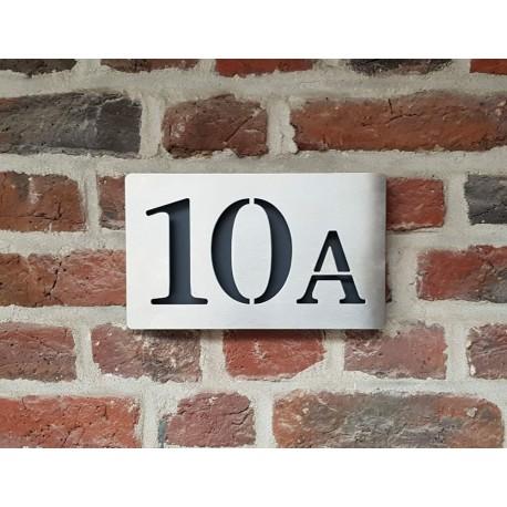 Plaque habitation inox brossé - Fond thermolaqué - Numéros alignés - 176x176 ou 195x130