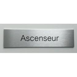 """Plaque de porte d'intérieur inox brossé """"Ascenseur"""" - 150x50 ou 200x50"""