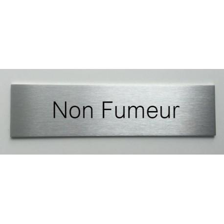 """Plaque de porte d'intérieur inox brossé """"Non Fumeur"""" - 150x50 ou 200x50"""