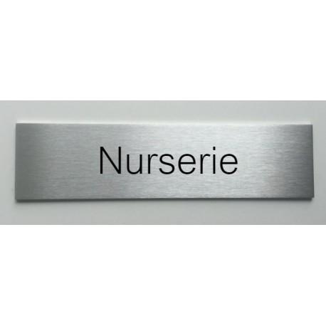"""Plaque de porte d'intérieur inox brossé """"Nurserie"""" - 150x50 ou 200x50"""
