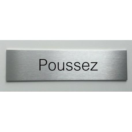 """Plaque de porte d'intérieur inox brossé """"Poussez"""" - 150x50 ou 200x50"""