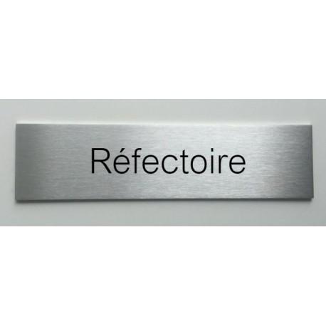 """Plaque de porte d'intérieur inox brossé """"Réfectoire"""" - 150x50 ou 200x50"""