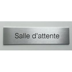 """Plaque de porte d'intérieur inox brossé """"Salle d'attente"""" - 150x50 ou 200x50"""