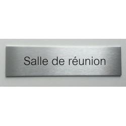 """Plaque de porte d'intérieur inox brossé """"Salle de réunion"""" - 150x50 ou 200x50"""