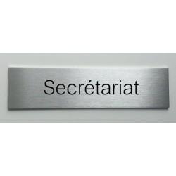 """Plaque de porte d'intérieur inox brossé """"Secrétariat"""" - 150x50 ou 200x50"""