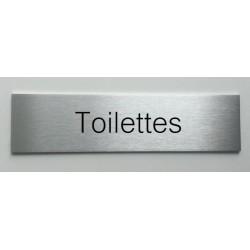 """Plaque de porte d'intérieur inox brossé """"Toilettes"""" - 150x50 ou 200x50"""