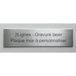 2Lignes - Plaque inox à personnaliser - 150x50 ou 200x50mm