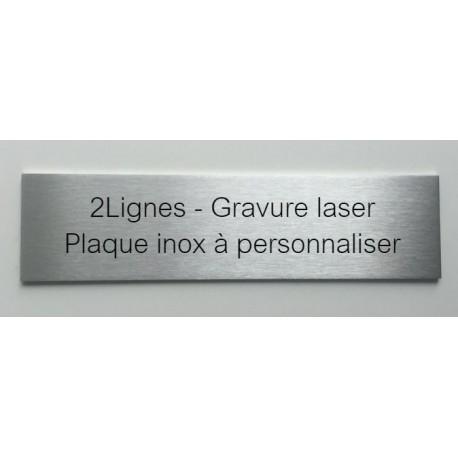 2lignes plaque inox a personnaliser 150x50 ou 200x50mm. Black Bedroom Furniture Sets. Home Design Ideas