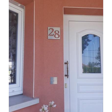 Plaque habitation inox brossé - Numéros décalés - 176x176 ou 195x130