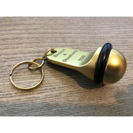 Porte-clé boule Lg70mm x Ø35.00mm - Gravure laser - DORE
