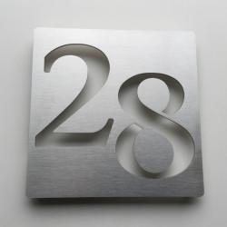 Numéros décalés - Plaque habitation inox brossé - 176x176 ou 195x130
