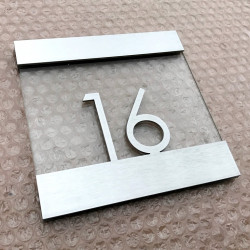 Plaque inox brossé et verre trempé hôtel - 150x150mm