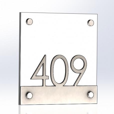 Plaque inox brossé et verre trempé hôtel ou habitation - 150x150mm