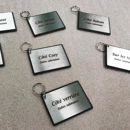 Porte-clés à personnaliser - Gravure laser - 76x56mm ou 85x60mm