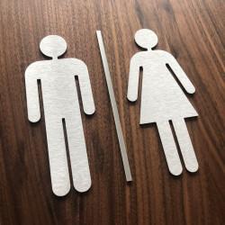 Pictogramme homme + femme + barre centrale toilettes - 10/15cm