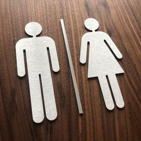 Pictogramme homme + femme + barre centrale toilettes 10/15cm
