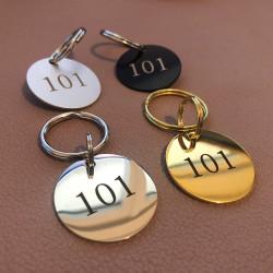 Porte-clés aluminium blanc-noir-brillant ou doré Diam32