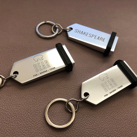 Porte-clés Aluminium à personnaliser - Gravure laser - 75x30mm - ARGENT