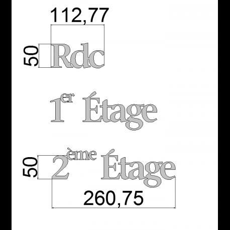 Rdc / 1er Etage / 2eme Etage - Inox brossé - Taille 50, 70 ou 100mm