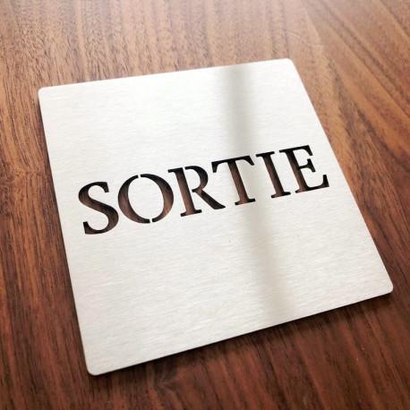 Pictogramme inox Sortie - 100x100 ou 150x150