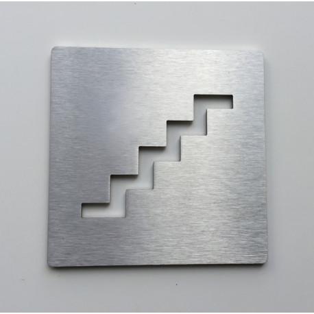 Pictogramme escalier inox - 100x100 ou 150x150mm