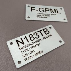 Plaque Avion en inox à personnaliser - Gravure laser - 100x50mm