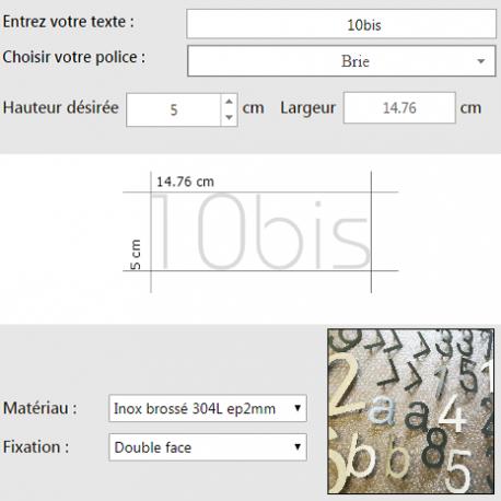 Chiffres inox sur mesure - Personnalisation en ligne - Hauteur de 5 à 100cm