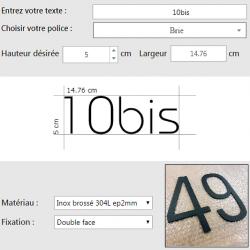 Chiffres inox thermolaqués sur mesure - Personnalisation en ligne - Hauteur de 5 à 100cm