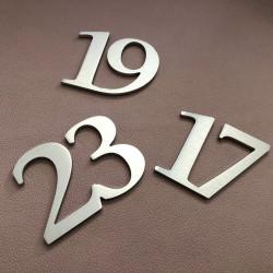 Design assemblé - Numéro Chambre Hôtel / Inox brossé / Taille 3, 5, 7 ou 10cm