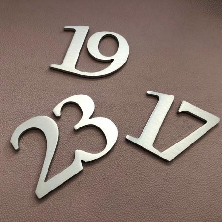 Design numéro assemblé - Inox brossé - Numéro au choix - Taille 3, 5, 7 ou 10cm