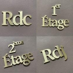 Accès aux étages Design Assemblé en laiton brossé - Rdc / 1er Etage / 2eme Etage - Inox brossé - Taille 50, 70 ou 100mm