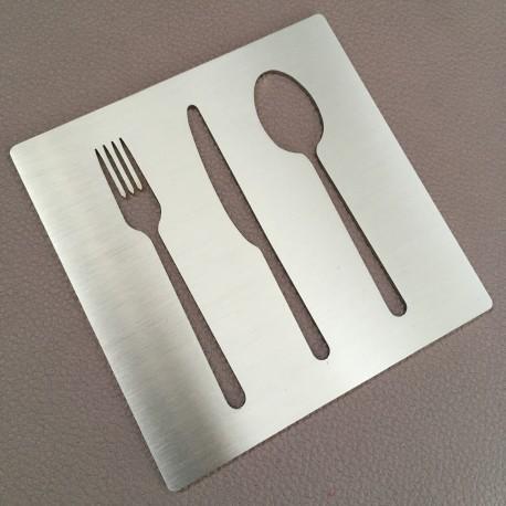 Pictogramme - Couverts - Fourchette Couteau Cuillère inox 100x100 ou 150x150mm